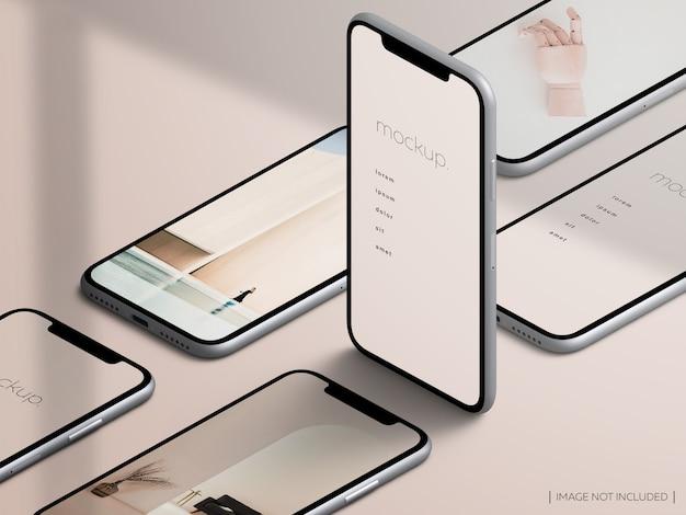 Makieta ekranu aplikacji izometrycznej na białym tle smartfonów