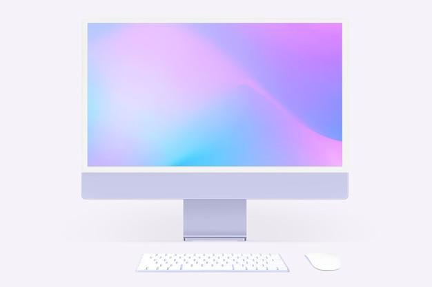 Makieta ekranu komputera stacjonarnego psd fioletowe urządzenie cyfrowe w minimalistycznym stylu