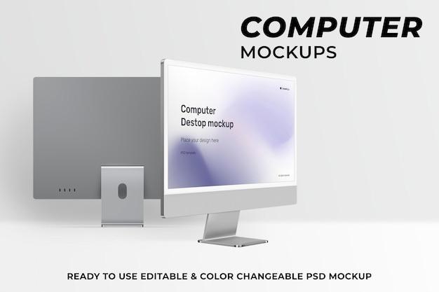 Makieta ekranu komputera stacjonarnego psd szare urządzenie cyfrowe w minimalistycznym stylu