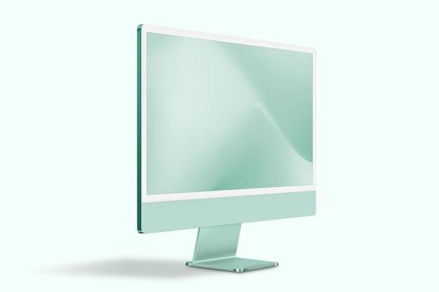 Makieta ekranu komputera stacjonarnego psd zielone urządzenie cyfrowe w minimalistycznym stylu
