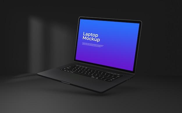 Makieta ekranu laptopa psd na ciemnym tle