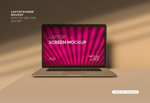 Makieta ekranu laptopa z ponad cień
