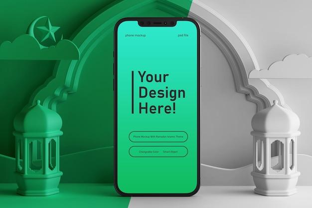 Makieta ekranu smartfona na edytowalnej kolorowej scenie renderowania 3d ramadan eid mubarak islamski motyw