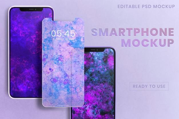 Makieta ekranu smartfona psd z fioletową tapetą z bąbelkami