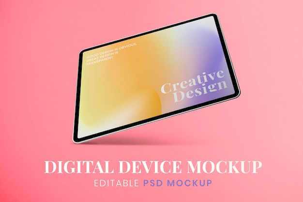 Makieta ekranu tabletu, kolorowa przestrzeń gradientu psd