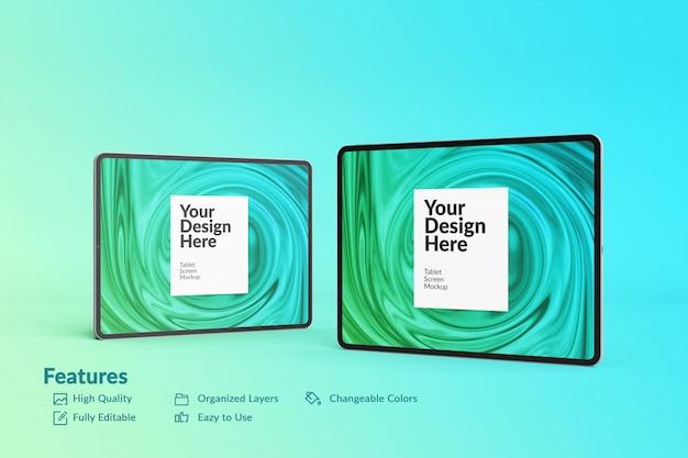 Makieta ekranu tabletu z dwoma edytowalnymi urządzeniami cyfrowymi