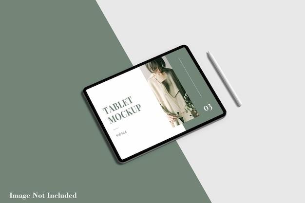 Makieta ekranu tabletu z ołówkiem premium psd