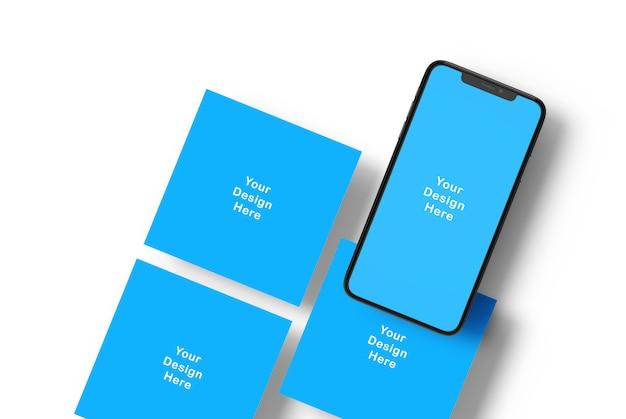Makieta ekranu telefonu i kwadratowe banery