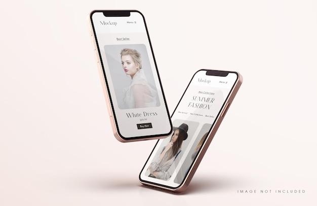 Makieta ekranu telefonu w kolorze czerwonym i złotym z szablonem prezentacji aplikacji mobilnej