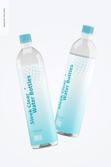 Makieta eleganckich butelek na wodę 1l, opadająca
