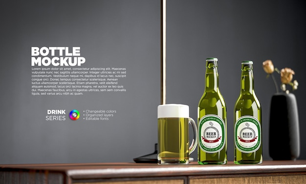 Makieta etykiety butelki piwa w renderowaniu 3d
