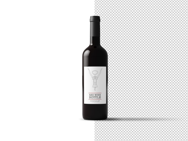 Makieta etykiety butelki wina na białym tle