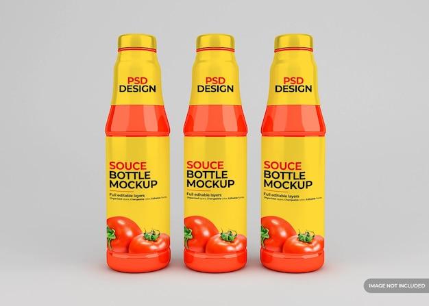 Makieta etykiety szklanej butelki sosu pomidorowego