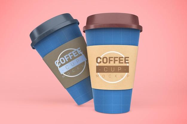 Makieta filiżanek kawy. napój na wynos