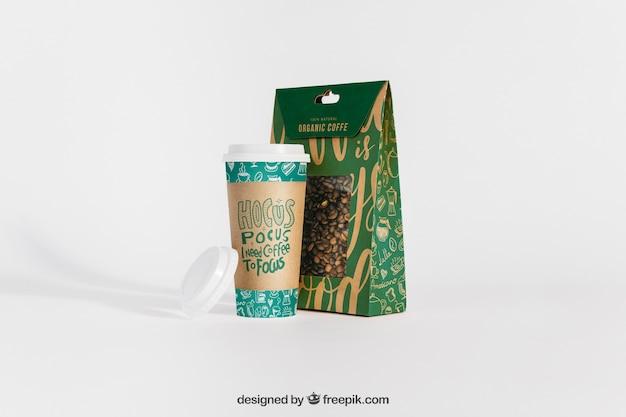 Makieta filiżanki kawy i torby