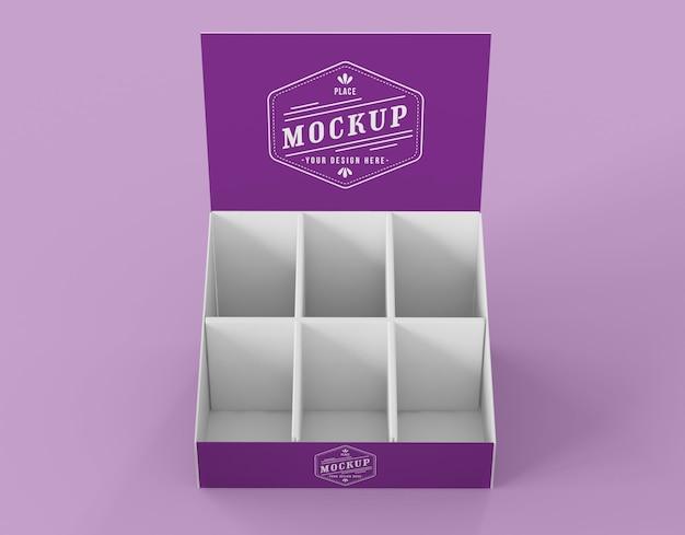 Makieta fioletowego wystawcy o wysokim kącie minimalistycznym