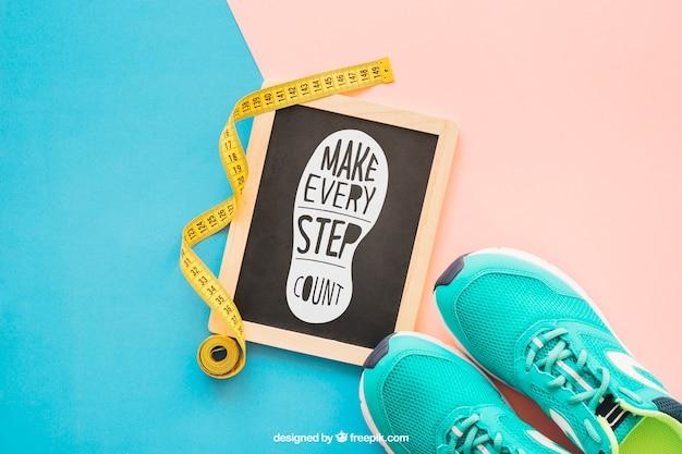 Makieta fitness z łupków i buty