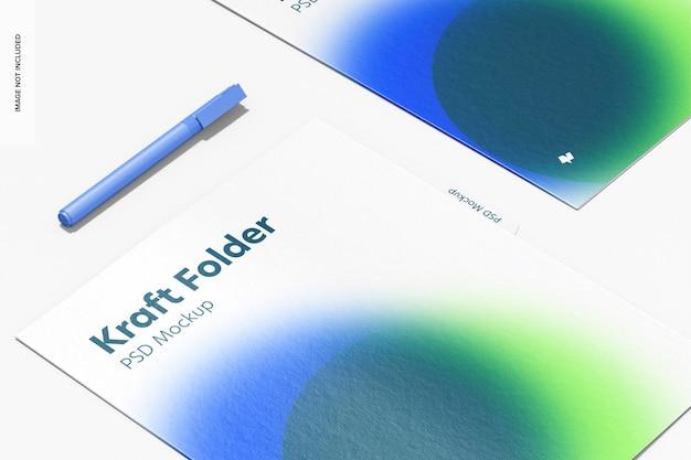 Makieta folderów kraft, z bliska
