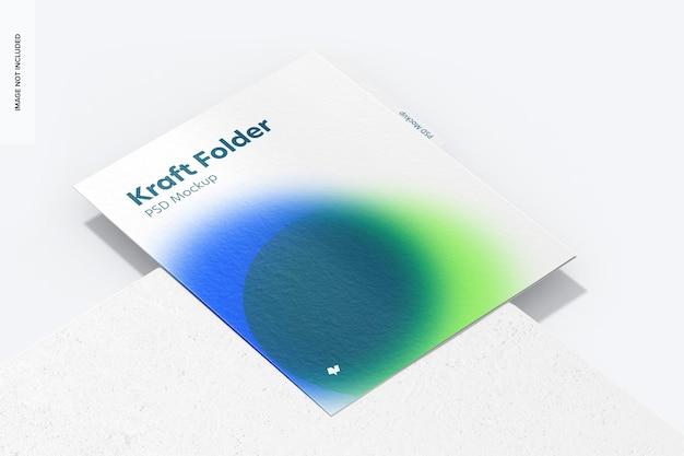 Makieta folderu kraft, widok perspektywiczny
