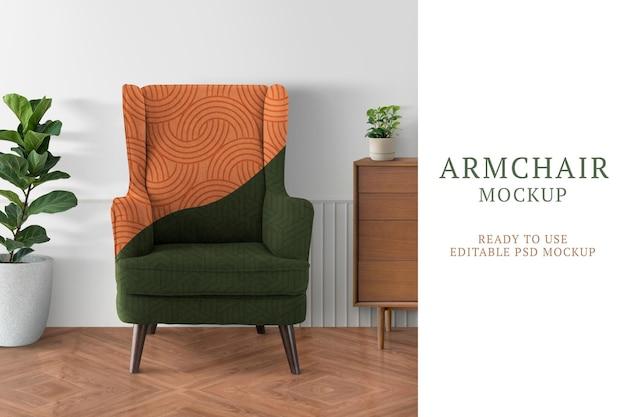 Makieta fotela psd z abstrakcyjnym wzorem w salonie