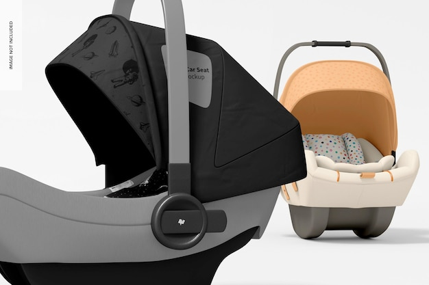 Makieta fotelików samochodowych dla dzieci, zbliżenie