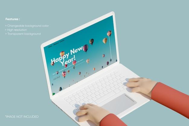 Makieta glinianego laptopa na pełnym ekranie z ręką 3d