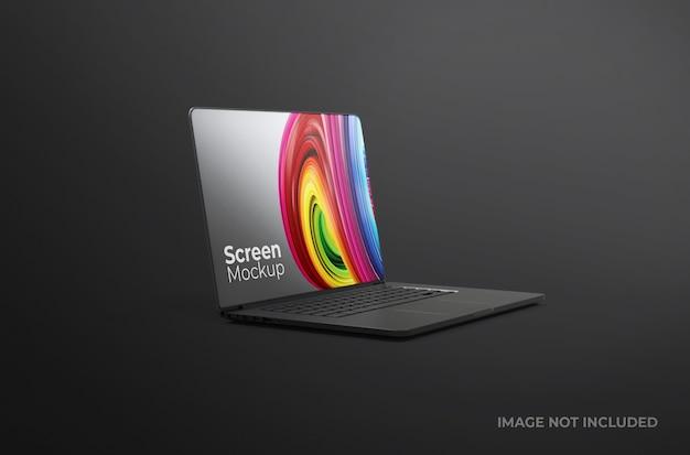 Makieta gliny czarny ekran laptopa na białym tle