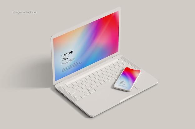 Makieta gliny laptopa i smartfona