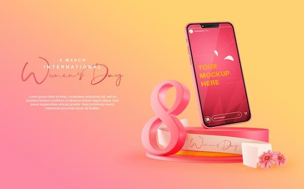 Makieta historii na instagramie ze smartfonem na obchody międzynarodowego dnia kobiet