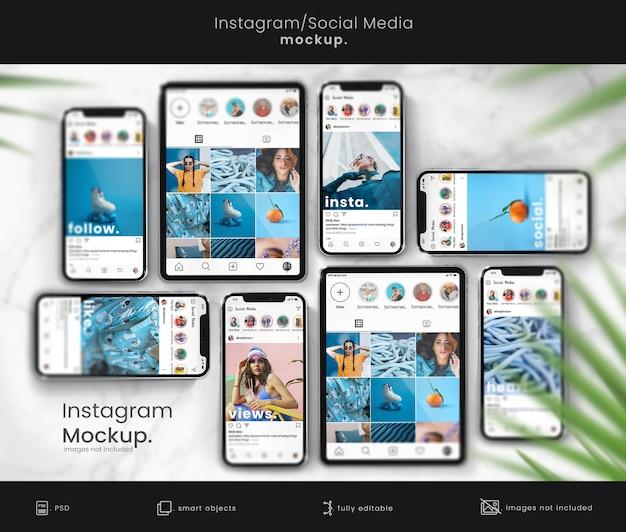 Makieta instagram na ekrany smartfonów i tabletów