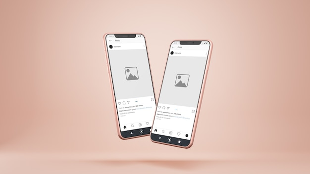 Makieta instagram smartfonów na białym tle