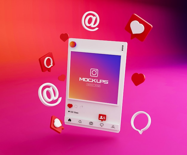 Makieta instagram social media 3d