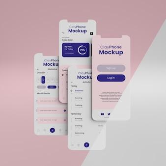 Makieta interfejsu aplikacji na ekranie telefonu