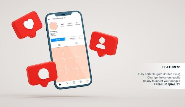 Makieta interfejsu instagrama w pływającym telefonie z powiadomieniami aplikacji w renderowaniu 3d