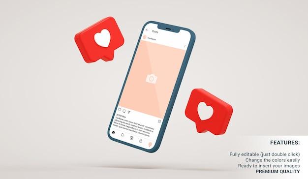 Makieta interfejsu posta na instagramie w pływającym smartfonie z podobnymi powiadomieniami w renderowaniu 3d
