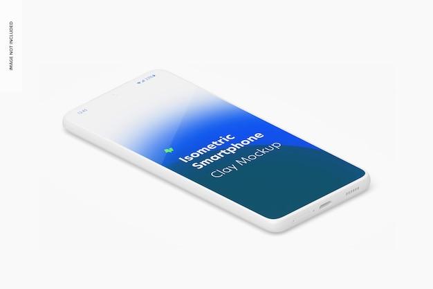 Makieta izometrycznej gliny smartfona, widok z lewej strony