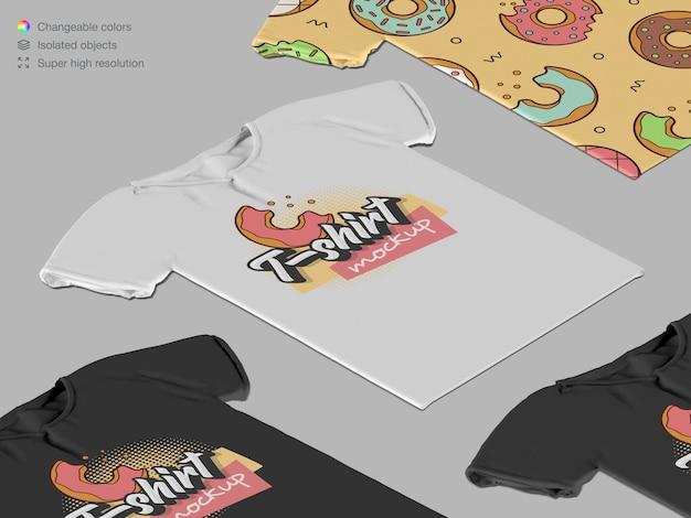 Makieta izometrycznych bawełnianych t-shirtów