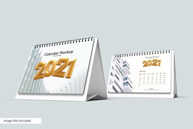 Makieta kalendarza biurko krajobraz na białym tle