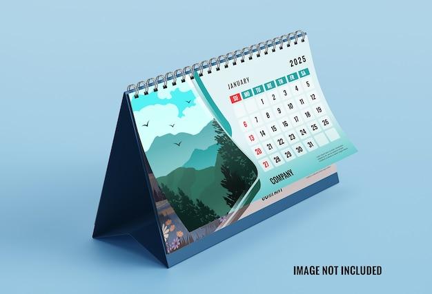 Makieta kalendarza eleganckie biurko na białym tle
