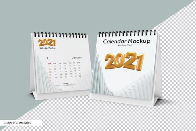 Makieta kalendarza kwadratowe biurko na białym tle
