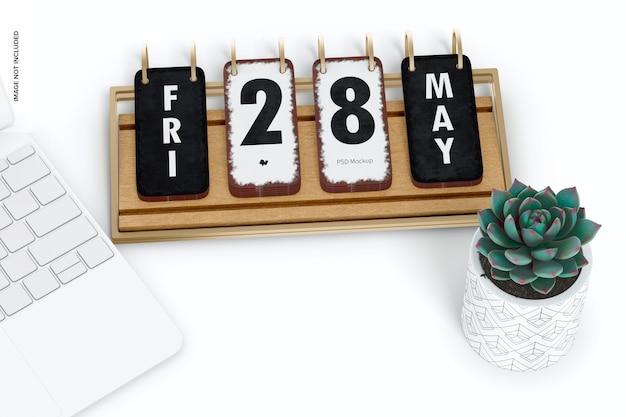 Makieta kalendarza na biurko, widok z góry