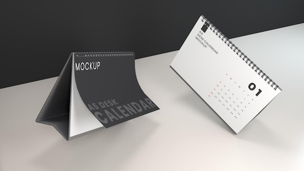 Makieta kalendarza na biurko z pływającym krajobrazem