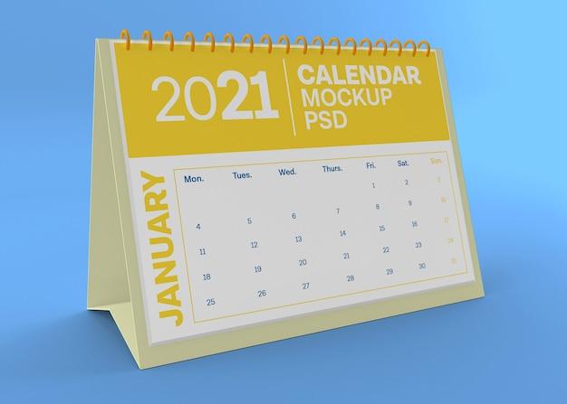 Makieta kalendarza poziome biurko na białym tle