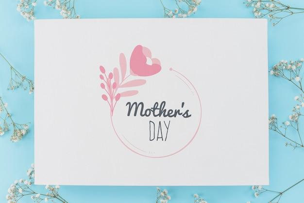 Makieta karta płaski dzień matki świeckich