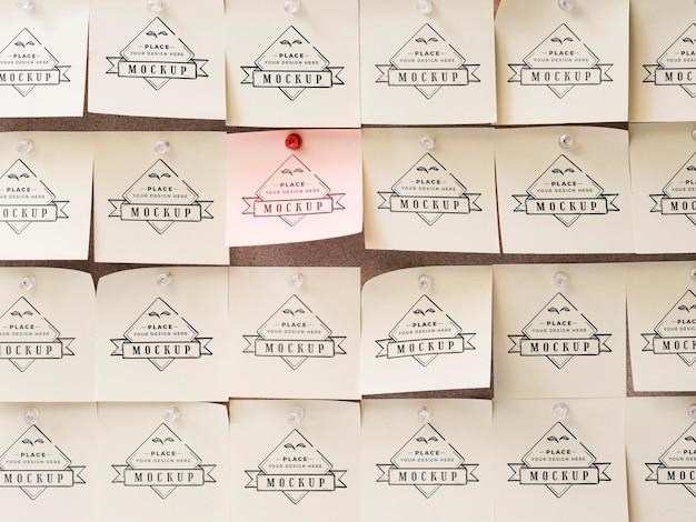 Makieta karteczek samoprzylepnych z widokiem z przodu