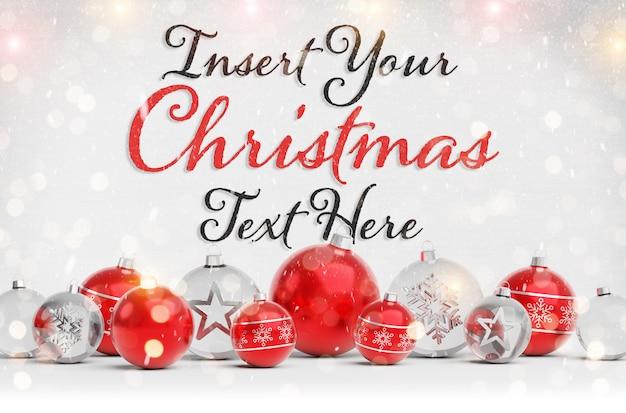 Makieta kartki świąteczne z tekstem i czerwone bombki