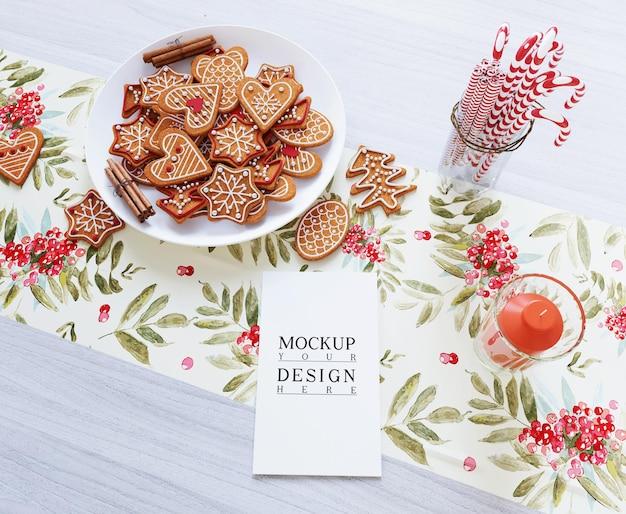 Makieta kartki z życzeniami wesołych świąt z dekoracją świąteczną