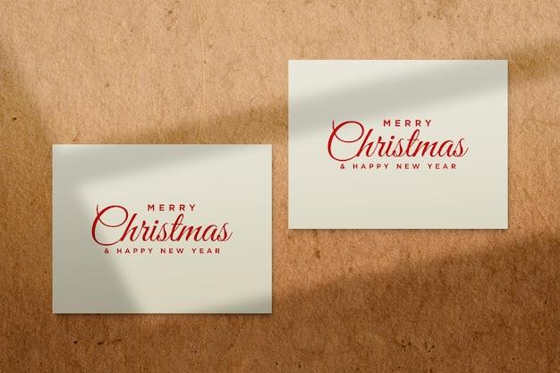 Makieta kartki z życzeniami z koncepcją świąteczną psd z cieniem