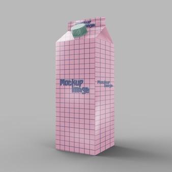 Makieta karton mleka z kubek śruby na białym tle