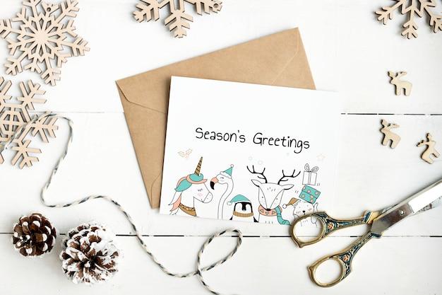 Makieta karty pozdrowienia cute seasons